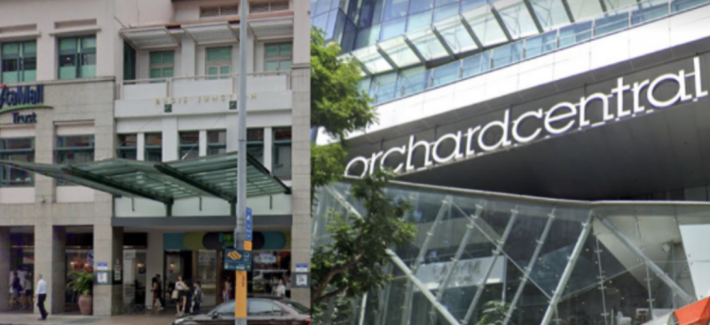 Bugis Junction and Orchard Central. (SCREENSHOTS: Google Maps)