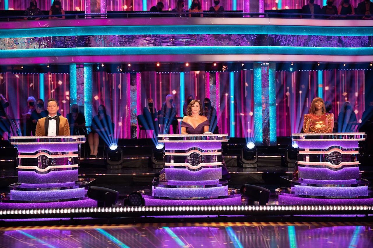 """<p>Judges Craig Revel Horwood, Shirley Ballas and Motsi Mabuse seated at their modified judges' tables, in <a href=""""https://www.digitalspy.com/tv/reality-tv/a33667406/strictly-come-dancing-bruno-tonioli-2020/"""" target=""""_blank"""">Bruno Tonioli's absence</a>.</p>"""