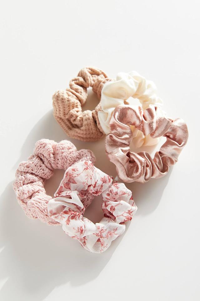 """<p>You can't leave the house without a scrunchie or two; this <product href=""""https://www.urbanoutfitters.com/shop/days-of-the-week-scrunchie-set?category=women-accessories&amp;color=069&amp;type=REGULAR"""" target=""""_blank"""" class=""""ga-track"""" data-ga-category=""""internal click"""" data-ga-label=""""https://www.urbanoutfitters.com/shop/days-of-the-week-scrunchie-set?category=women-accessories&amp;color=069&amp;type=REGULAR"""" data-ga-action=""""body text link"""">Days of the Week Scrunchie Set</product> ($12) is so cute.</p>"""
