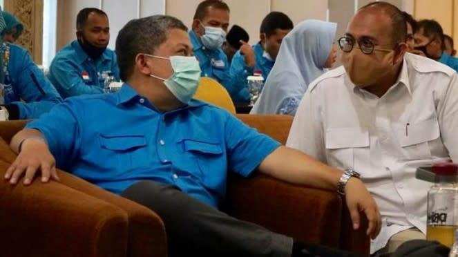 Waketum Gelora Fahri Hamzah dan Ketua DPD Gerindra Sumbar Andre Rosiade