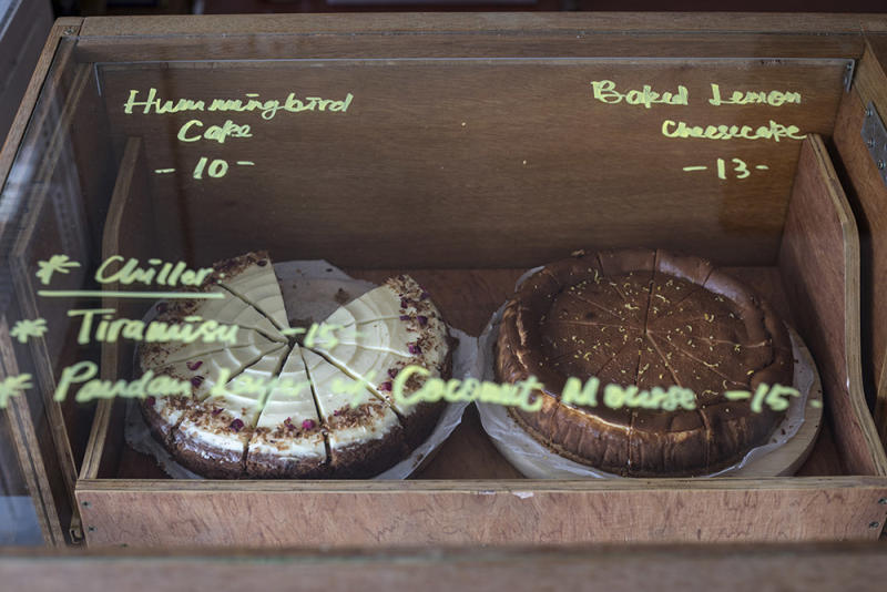 Check out Ebony & Ivory's rotating selection of freshly-baked cakes.