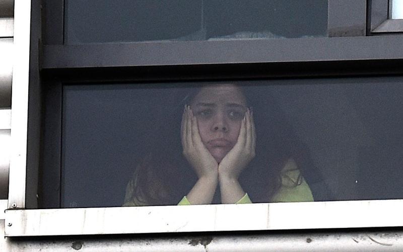A student in quarantine at Abertay University's Abertay House - Callum Moffat/Daily Record