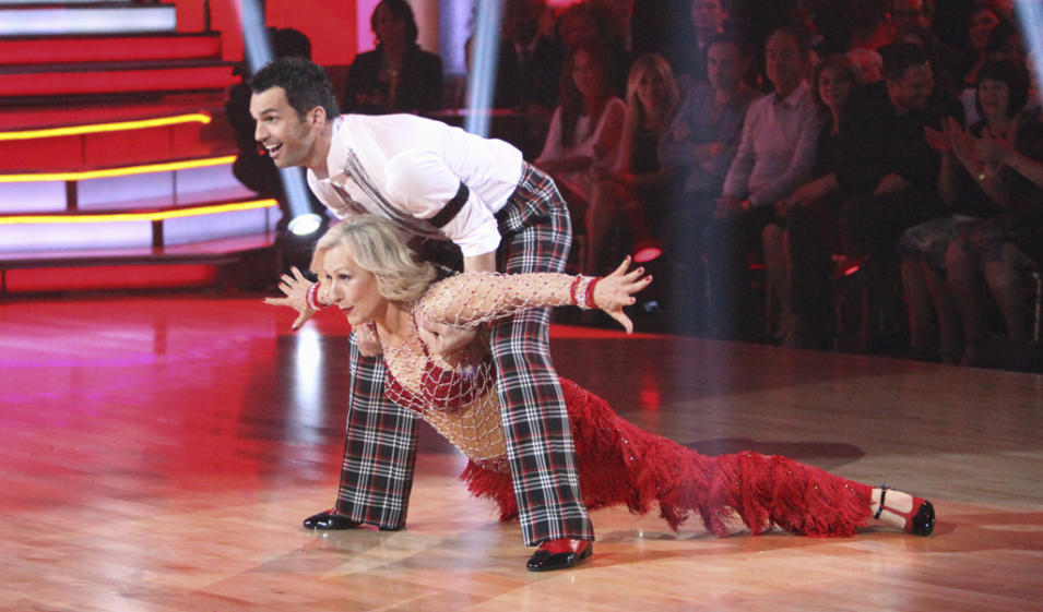 "Tony Dovolani and Martina Navratilova perform on ""Dancing With the Stars."""