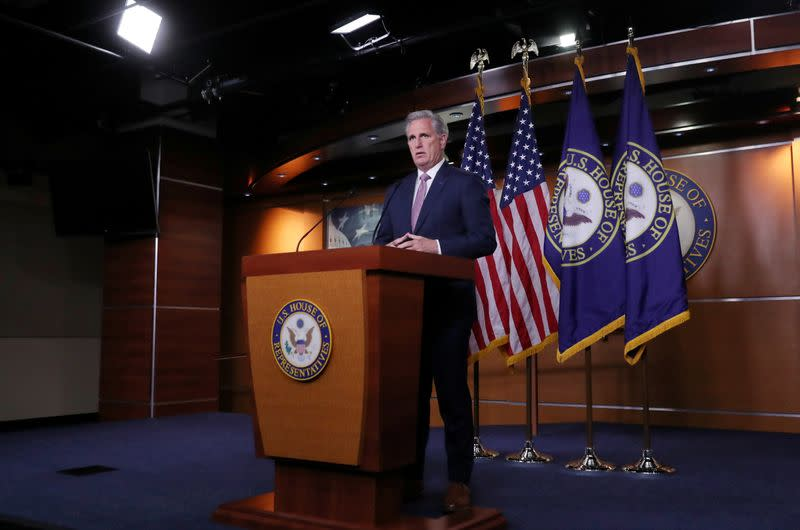 House Republican Leader Kevin McCarthy (R-CA) holds his weekly news conference at the U.S. Capitol