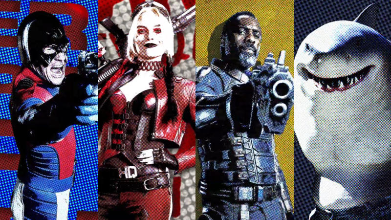 The Peacemaker, Harley Quinn, Bloodsport and King Shark in 'The Suicide Squad'. (Credit: DC/Warner Bros)