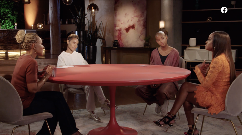 """The June 19, 2020 episode of Facebook Watch's """"Red Table Talk"""" centered on racism. From L to R: Adrienne Banfield-Norris, Jada Pinkett Smith, Willow Smit and Tamika Mallory. (Screenshot: Red Table Talk)"""