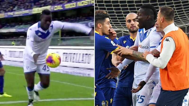 Mario Balotelli of Brescia Calcio reacts to racist chants from Verona fans during the Serie A. (Photo by Alessandro Sabattini/Getty Images)