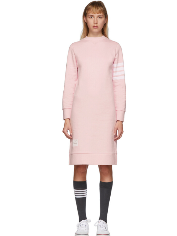 Thom Browne Pink 4-Bar Sweater Dress. Image via Ssense.