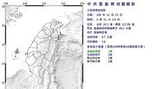 宜蘭近海規模3.6地震 最大震度3級