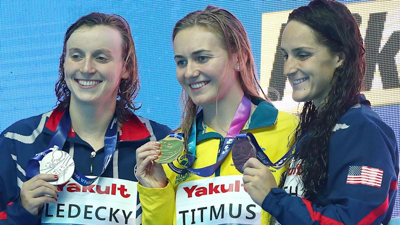 Ariarne Titmus stunned the swimming world when she upset Katie Ledecky to win gold. Pic: Getty
