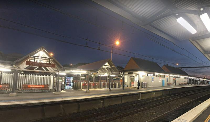 Pictured: Campbelltown train station where a man was shot on Wednesday afternoon. Source: Google Maps (file pic)
