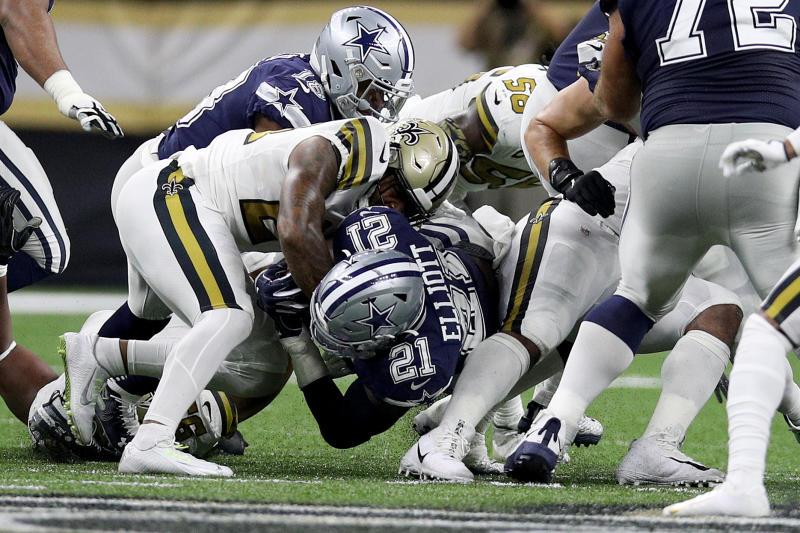 Ezekiel Elliott of the Dallas Cowboys dives against the New Orleans Saints during the second quarter against the Saints. (Getty Images)