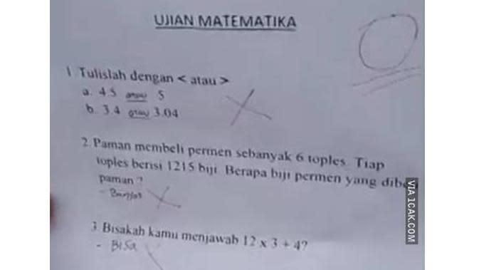 6 Jawaban Absurd Murid saat Ulangan Matematika Ini Bikin Tepuk Jidat (sumber: 1cak.com)