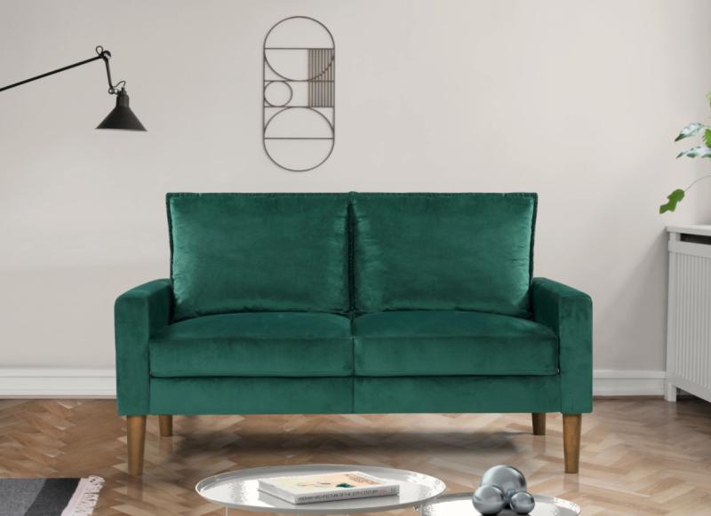 Ruiz Velvet Fabric Loveseat in Green (Photo via Overstock)