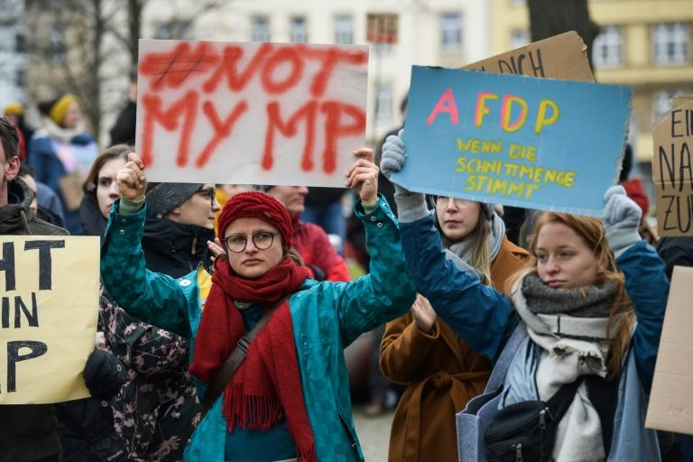 Thousands took to the streets across Germany to vent their anger, including in Berlin, Frankfurt and Thuringia's capital Erfurt