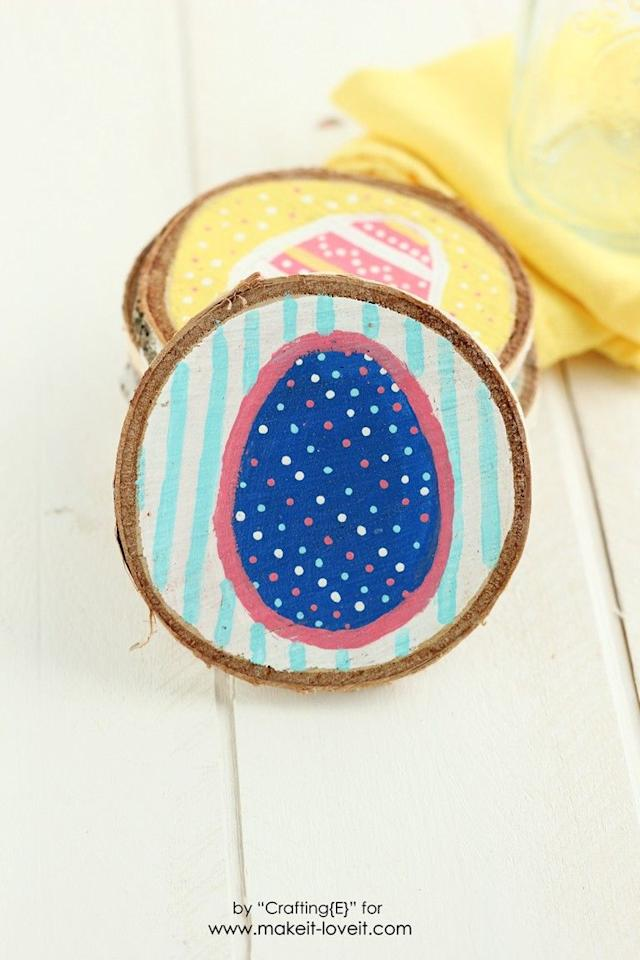 """<p>Spruce up this year's Easter brunch with a smattering of colorful coasters. The peppy, hand-painted designs on each one are guaranteed conversation starters for your guests.</p><p><strong>Get the tutorial at <a href=""""https://makeit-loveit.com/wood-slice-easter-egg-coasters"""" target=""""_blank"""">Make It Love It</a>.</strong></p><p><a class=""""body-btn-link"""" href=""""https://www.amazon.com/Apple-Barrel-Acrylic-PROMOABI-Assorted/dp/B00ATJSD8I?tag=syn-yahoo-20&ascsubtag=%5Bartid%7C10050.g.2628%5Bsrc%7Cyahoo-us"""" target=""""_blank"""">SHOP ACRYLIC PAINT</a><strong><br></strong></p>"""