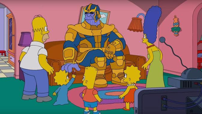 Thanos dari film Avengers: Infinity War garapan Marvel dalam serial kartun The Simpsons. (Fox)