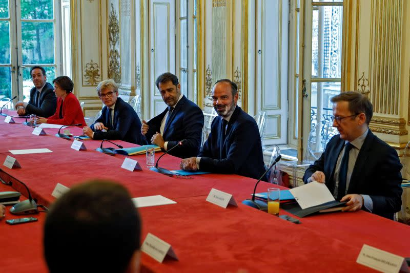 Political party leaders meeting at the Hotel Matignon in Paris