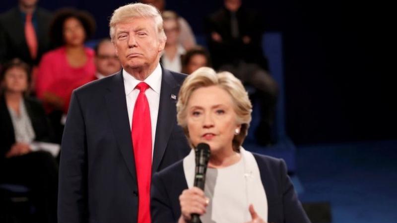 Donald Trump stares at Hillary Clinton during a debate.
