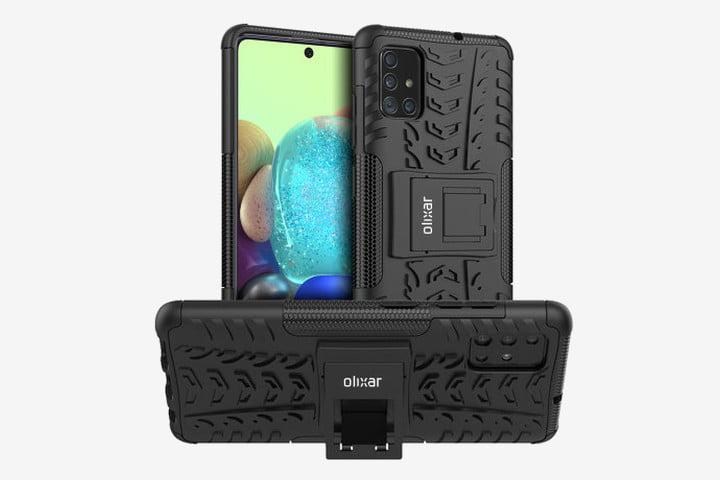 Photo shows three views of the Samsung Galaxy A71 5G in an Olixar ArmourDillo case: front, rear, and with the kickstand folded out
