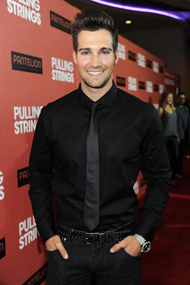 "James Maslow arrives at Pantelion Films' ""Pulling Strings"" Los Angeles premiere at Regal Cinemas L.A. Live on Thursday, Oct. 3, 2013 in Los Angeles. . (Photo by Jordan Strauss/Invision for Pantelion Films/AP Images)"