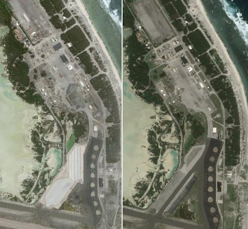 Satellite images taken on June 25 this year (left) and October 8, 2016, show the large apron expansion on the eastern side of the airfield and activity and construction in the support area to the north. Photo: Planet Labs Inc
