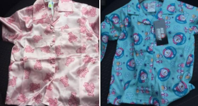 Pink and blue Clayton Super Discount Shop Children's Sleepwear shown after it was recalled for not having fire hazard labels.