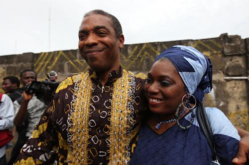 Femi Kuti, left, and Yeni Kuti, right, children of Afro beat legend Fela Kuti, attend the opening of Kalakuta Museum in Lagos, Nigeria, on Monday, Oct. 15, 2012. The family of late Afrobeat singer Fela Anikulapo-Kuti celebrated the opening of the Kalakuta Museum on Monday in Lagos in the home the musician once lived in. The opening of the museum comes during Felabration, an annual music festival honoring the singer. (AP Photo / Sunday Alamba)