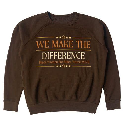 "<p><strong>Brother Vellies</strong></p><p>joebiden.com</p><p><strong>$60.00</strong></p><p><a href=""https://store.joebiden.com/Aurora-James-We-Make-The-Difference-Hoodie/"" target=""_blank"">Shop Now</a></p>"