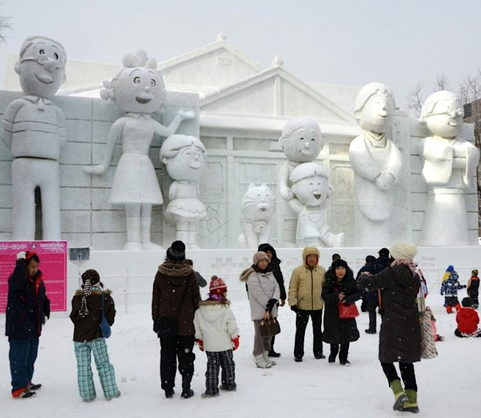 Sazae-san is a hugely popular cartoon that first aired in 1969 in Japan, where its characters have been featured at the annual Sapporo snow festival