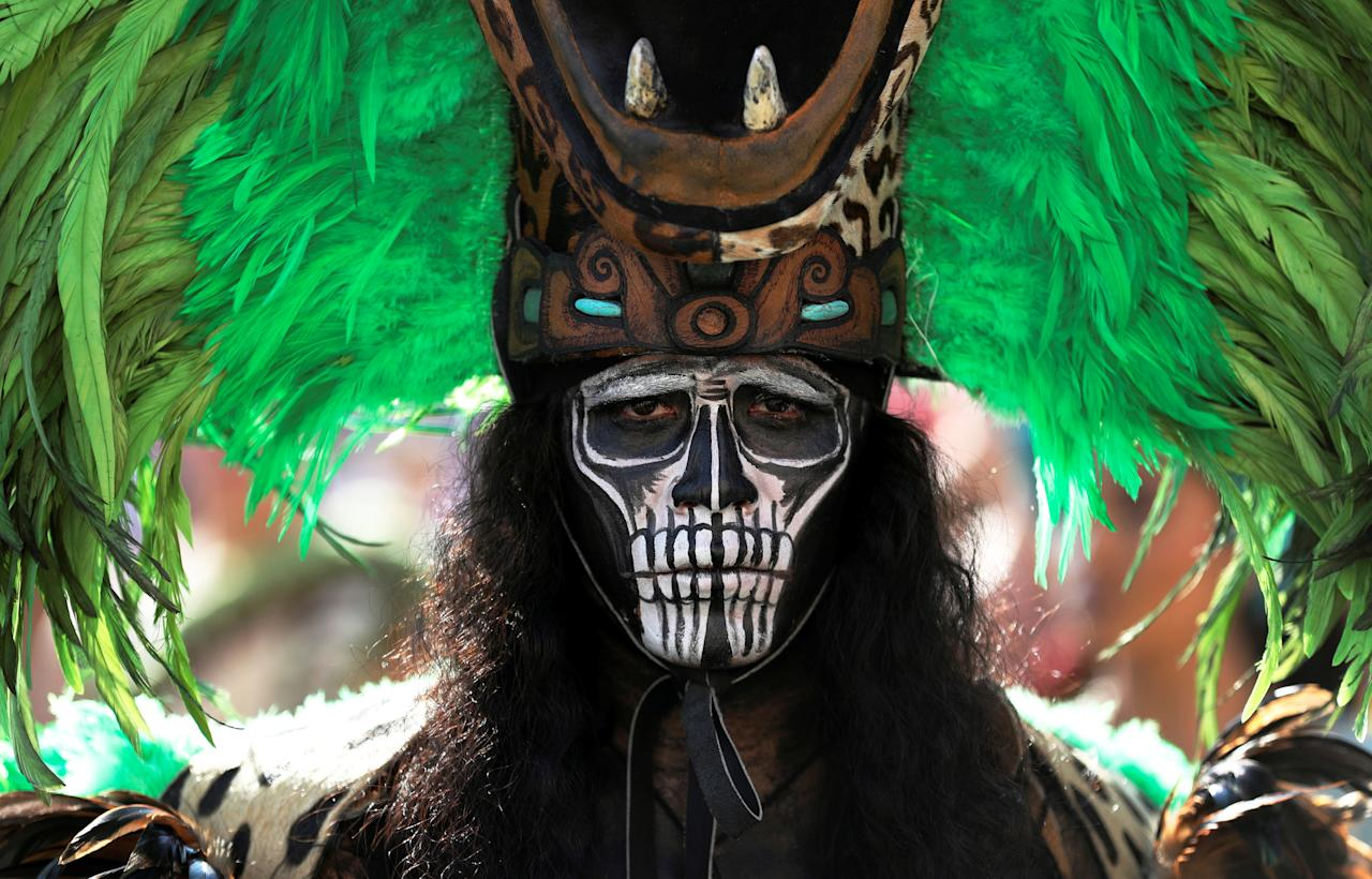 <p>A participant of the Mexico state of Quintana Roo arrives to perform during the general audience of Pope Francis in Saint Peter's square at the Vatican (Reuters) </p>