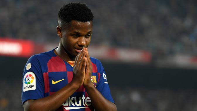 3. Ansu Fati (Barcelona) - Pemain berusia 17 tahun menampilkan performa terbaik dan tampil gemilang di dua laga terakhir Barcelona. Ansu Fati mencetak dua gol ketika Barcelona membantai Villarreal dengan skor 4-0. (AFP/Lluis Gene)