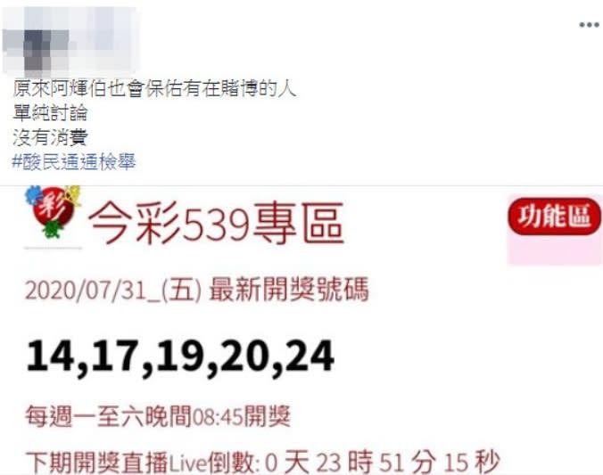網友分析今彩539中獎數字,竟與李前總統病逝時間相同。(圖/翻攝自爆廢公社)