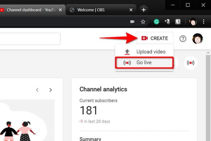 YouTube Create New Stream