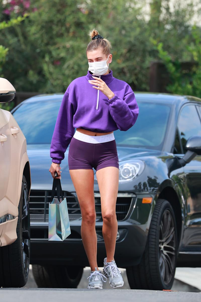 Hailey Bieber wore a zip-up fleece from Los Angeles Apparel. (Photo by Rachpoot/MEGA/GC Images)