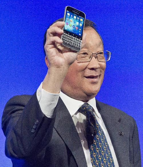 BlackBerry CEO John Chen introduces the company's new phone, the BlackBerry Classic, during a news conference, Wednesday, Dec. 17, 2014, in New York. (AP Photo/Bebeto Matthews)