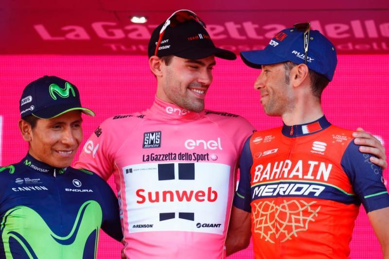 Sunweb's Tom Dumoulin shares a smile on the final podium of the 2017 Giro d'Italian with Nairo Quintana (Movistar) and Bahrain-Merida's Vincenzo Nibali