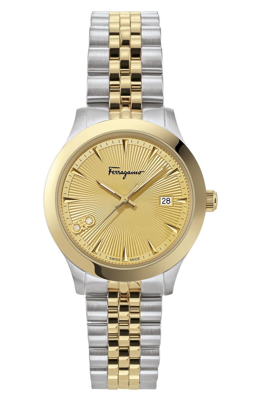 Salvatore Ferragamo Duo Diamond Bracelet Watch, 33mm. Image via Nordstrom.