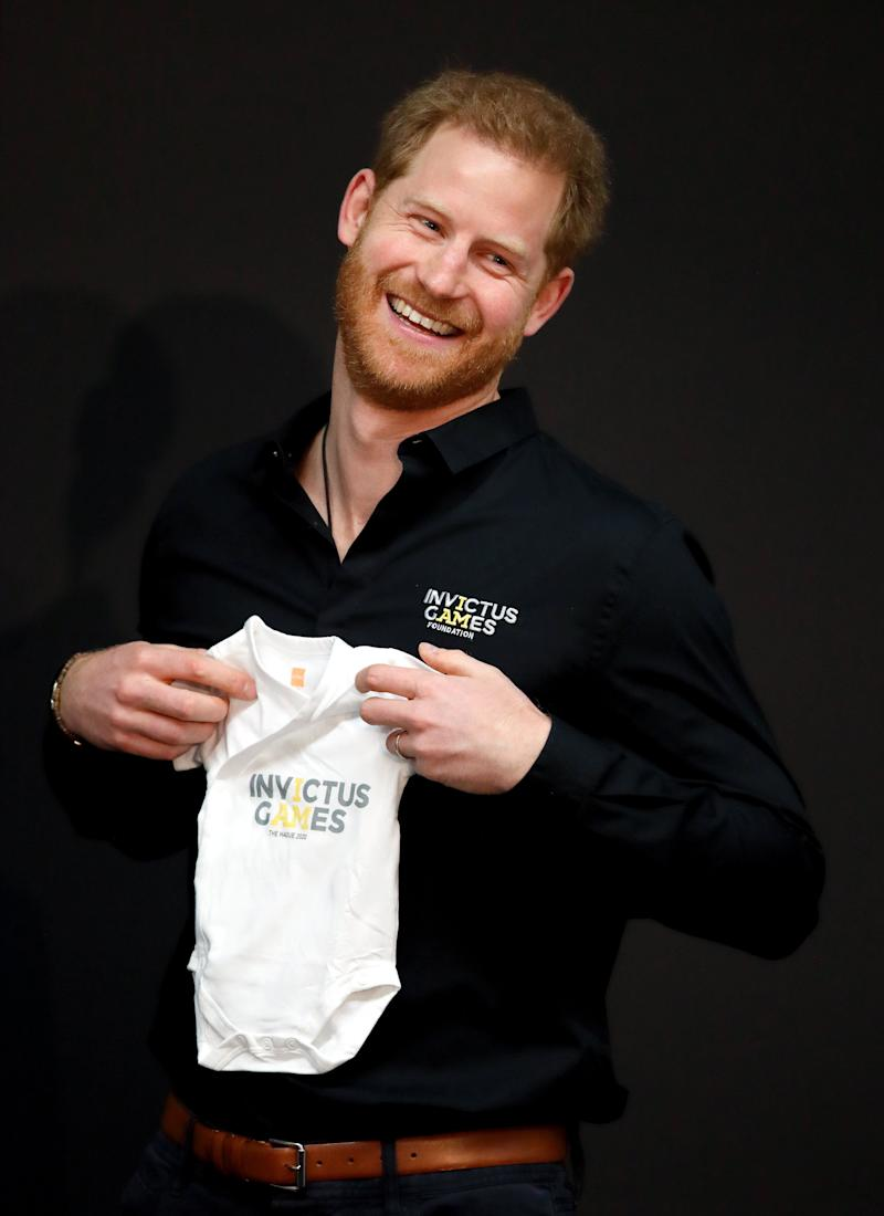 Prince Harry was also given an 'Invictus Games' babygrow to bring back to baby Archie. Photo: Getty Images