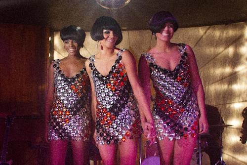 """This undated film image released by TriStar Pictures shows, from left, Tika Sumpter, Carmen Ejogo and Jordin Sparks in a scene from """"Sparkle."""" (AP Photo/TriStar Pictures - Sony, Alicia Gbur)"""