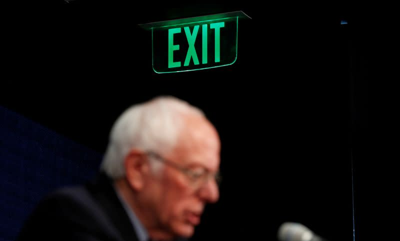 FILE PHOTO: U.S. Democratic presidential candidate Senator Bernie Sanders addresses news conference in Burlington, Vermont