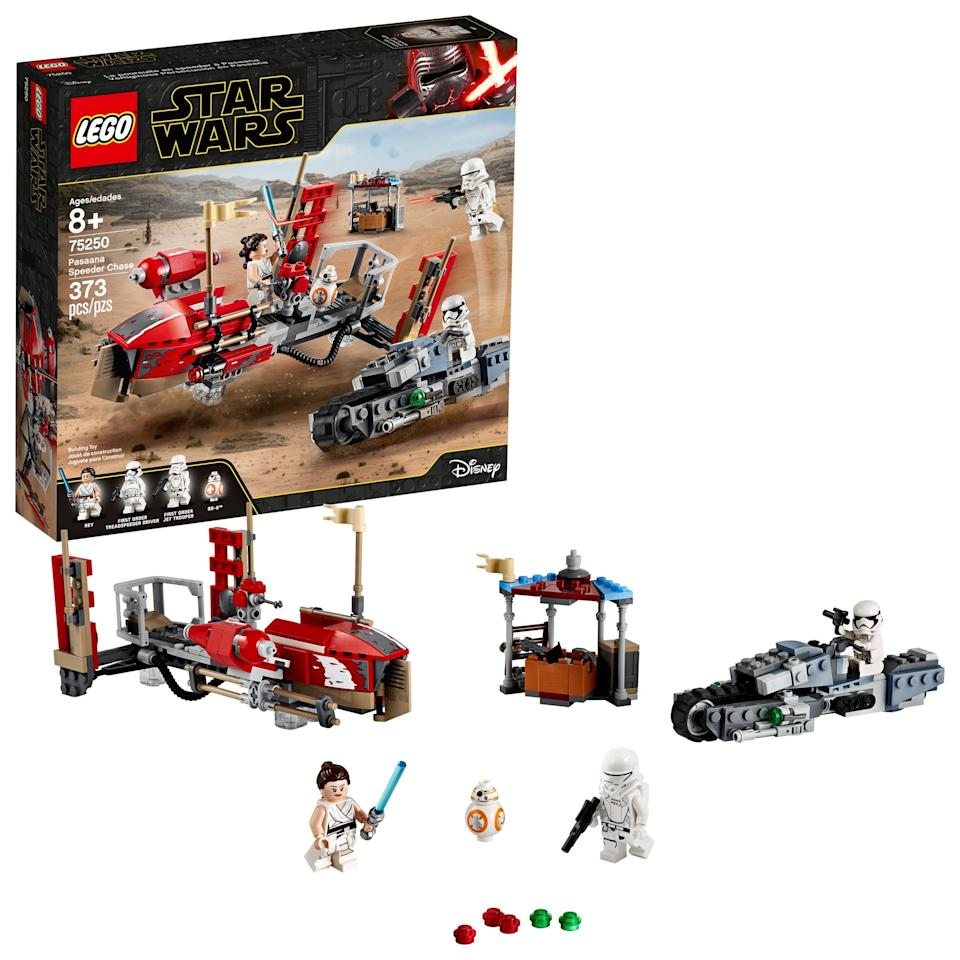 """<p>The <a href=""""https://www.popsugar.com/buy/Lego-Star-Wars-Rise-Skywalker-Pasaana-Speeder-Chase-498233?p_name=Lego%20Star%20Wars%3A%20The%20Rise%20of%20Skywalker%20Pasaana%20Speeder%20Chase&retailer=walmart.com&pid=498233&price=40&evar1=moms%3Aus&evar9=45805064&evar98=https%3A%2F%2Fwww.popsugar.com%2Ffamily%2Fphoto-gallery%2F45805064%2Fimage%2F46720178%2FLego-Star-Wars-Rise-Skywalker-Pasaana-Speeder-Chase&list1=toys%2Clego%2Ctoy%20fair%2Ckids%20toys%2Cbest%20of%202019&prop13=api&pdata=1"""" rel=""""nofollow"""" data-shoppable-link=""""1"""" target=""""_blank"""" class=""""ga-track"""" data-ga-category=""""Related"""" data-ga-label=""""https://www.walmart.com/ip/LEGO-Star-Wars-The-Rise-of-Skywalker-Pasaana-Speeder-Chase-75250/109222717"""" data-ga-action=""""In-Line Links"""">Lego Star Wars: The Rise of Skywalker Pasaana Speeder Chase</a> ($40) has 373 pieces and is aimed at kids ages 8 and up.</p>"""