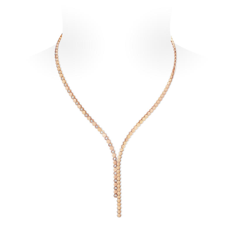Bee My Love rose gold necklace that is set with diamonds. (PHOTO: Chaumet)