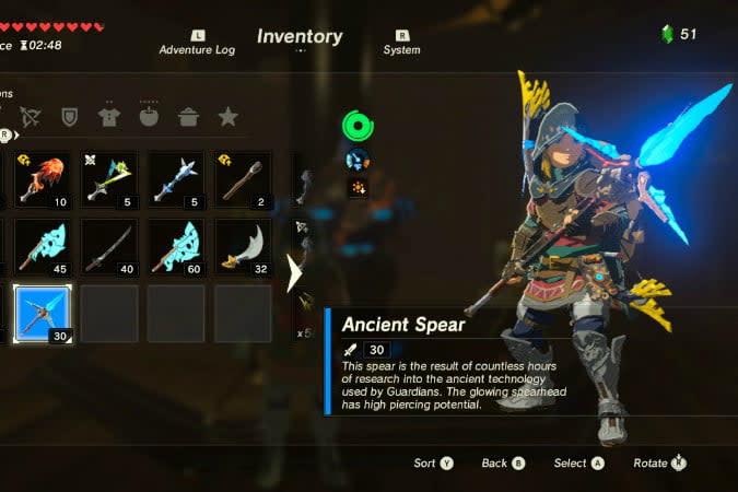 the legend of zelda breath wild best weapons spe