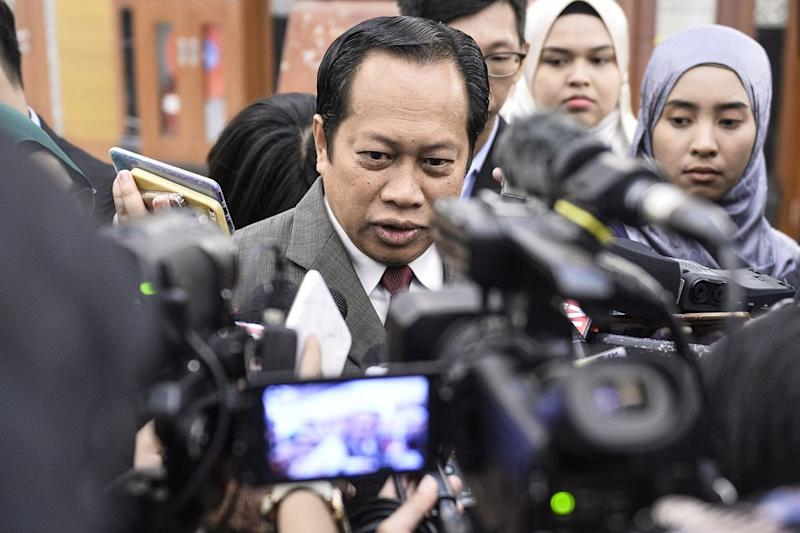 Pontian MP Datuk Seri Ahmad Maslan speaks to reporters at Parliament October 17, 2019. — Picture by Miera Zulyana