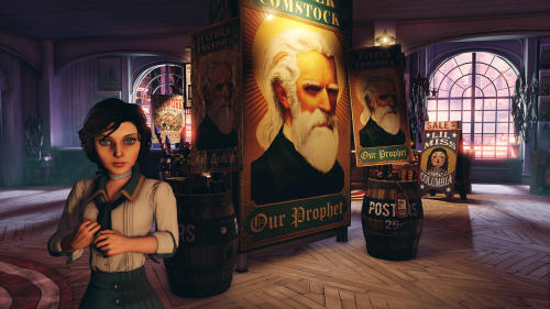 "FILE - This publicity file photo released by 2K Games/Irrational Games shows the character, Elizabeth, in a scene from the video game ""BioShock Infinite."" With an enterprising blend of art and technology, the creators of ""BioShock Infinite"" have aspirations that she'll be the most human-like character to ever appear in a video game. (AP Photo/2K Games/Irrational Games, File)"
