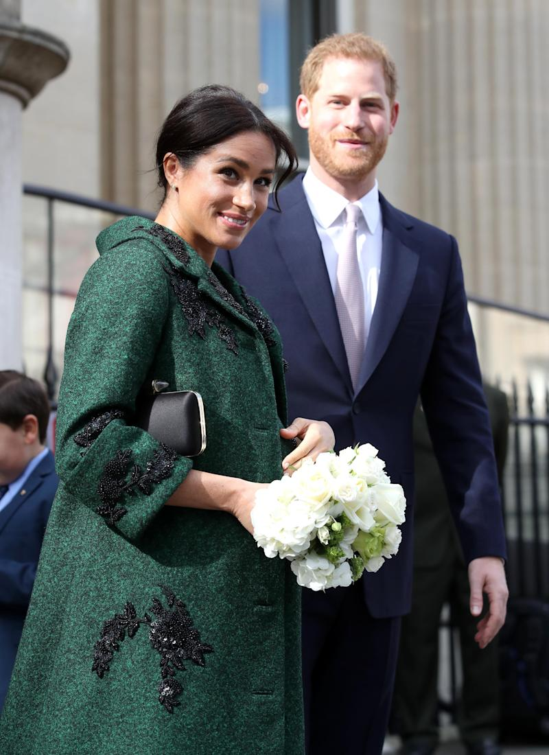 LONDON, ENGLAND - MARCH 11: Meghan, Duchess of Sussex and Prince Harry, Duke of Sussex departs a Commonwealth Day Youth Event at Canada House on March 11, 2019 in London, England. The event showcased and celebrated the diverse community of young Canadians living in London and around the UK. (Photo by Chris Jackson - WPA Pool/Getty Images)