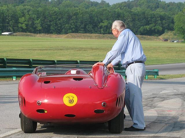 Celebrating the 50th anniversary of the opening of Virginia International Raceway, Carroll Shelby is pictured here with a Maserati 450S that he raced in 1957. (3/28/2007)