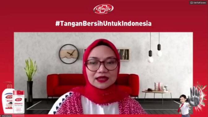 Head of Skin Cleansing and Baby Unilever Indonesia, Maulani Affandi saat Konferensi Pers Virtual #TanganBersihUntukIndonesia, Kamis, (15/10).