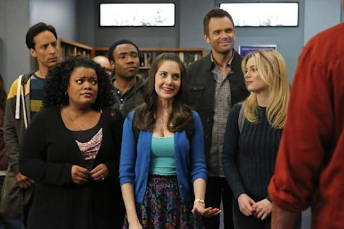 "This TV publicity image released by NBC shows, from left, Danny Pudi as Abed, Yvette Nicole Brown as Shirley, Donald Glover as Troy, Alison Brie as Annie, Joel McHale as Jeff Winger, Gillian Jacobs as Britta in a scene from season four of ""Community."" NBC said Monday, June 10, 2013, that show creator Dan Harmon will be joined by another former ""Community"" producer, Chris McKenna.Harmon was replaced as showrunner for season four after a clash with then-cast member Chevy Chase. (AP Photo/NBC, Vivian Zink)"